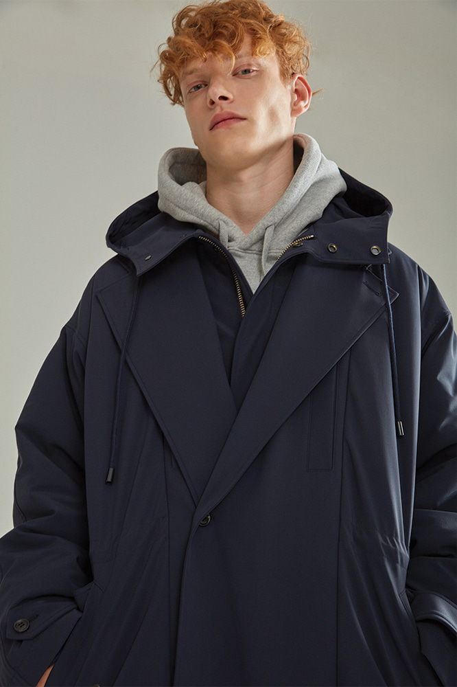 LAYERED PADDING TRENCH COAT NAVY