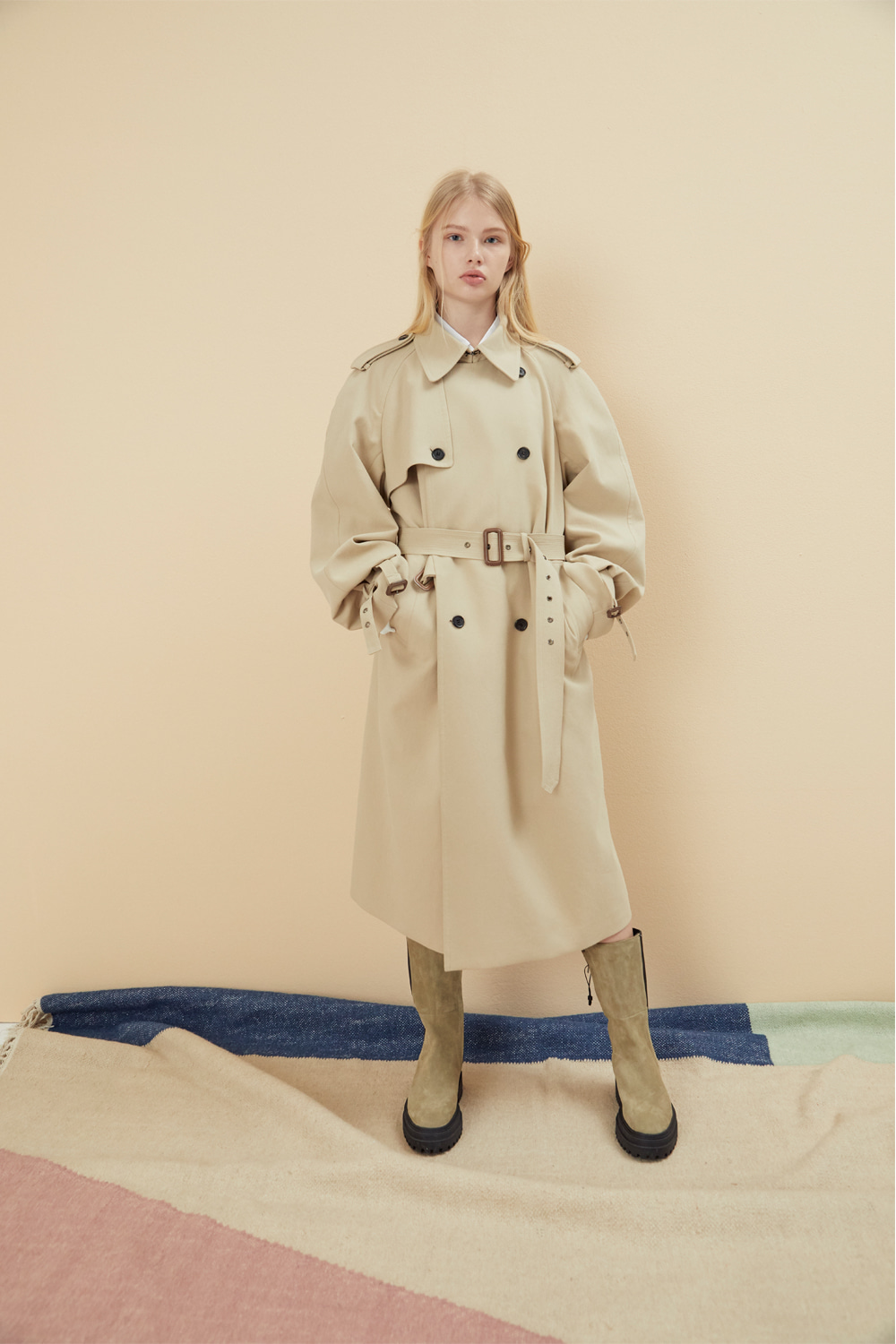 BASIC COTTON TRENCH COAT BEIGE