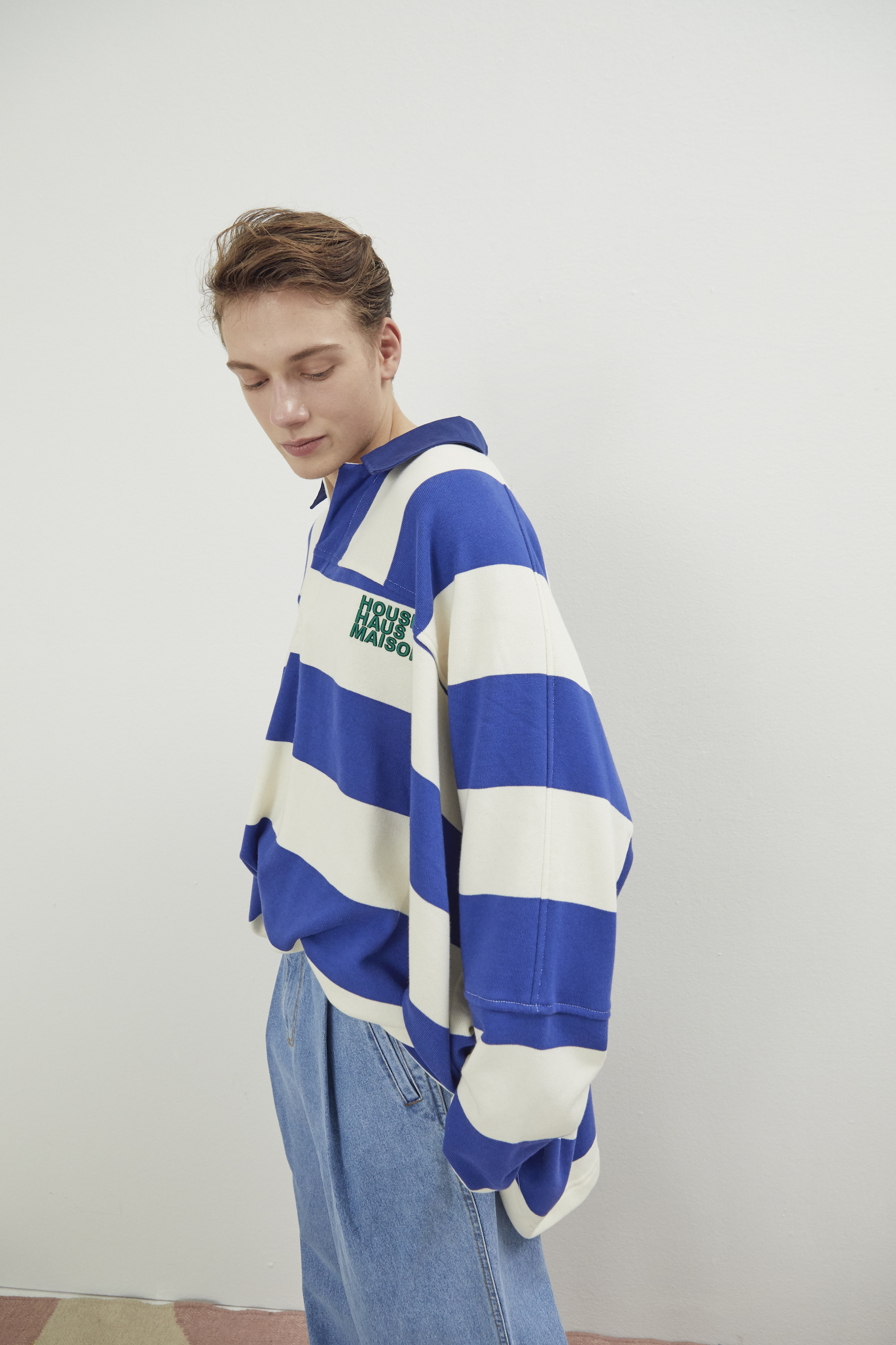 [예약배송] OVERSIZED RUGBY SHIRT BLUE