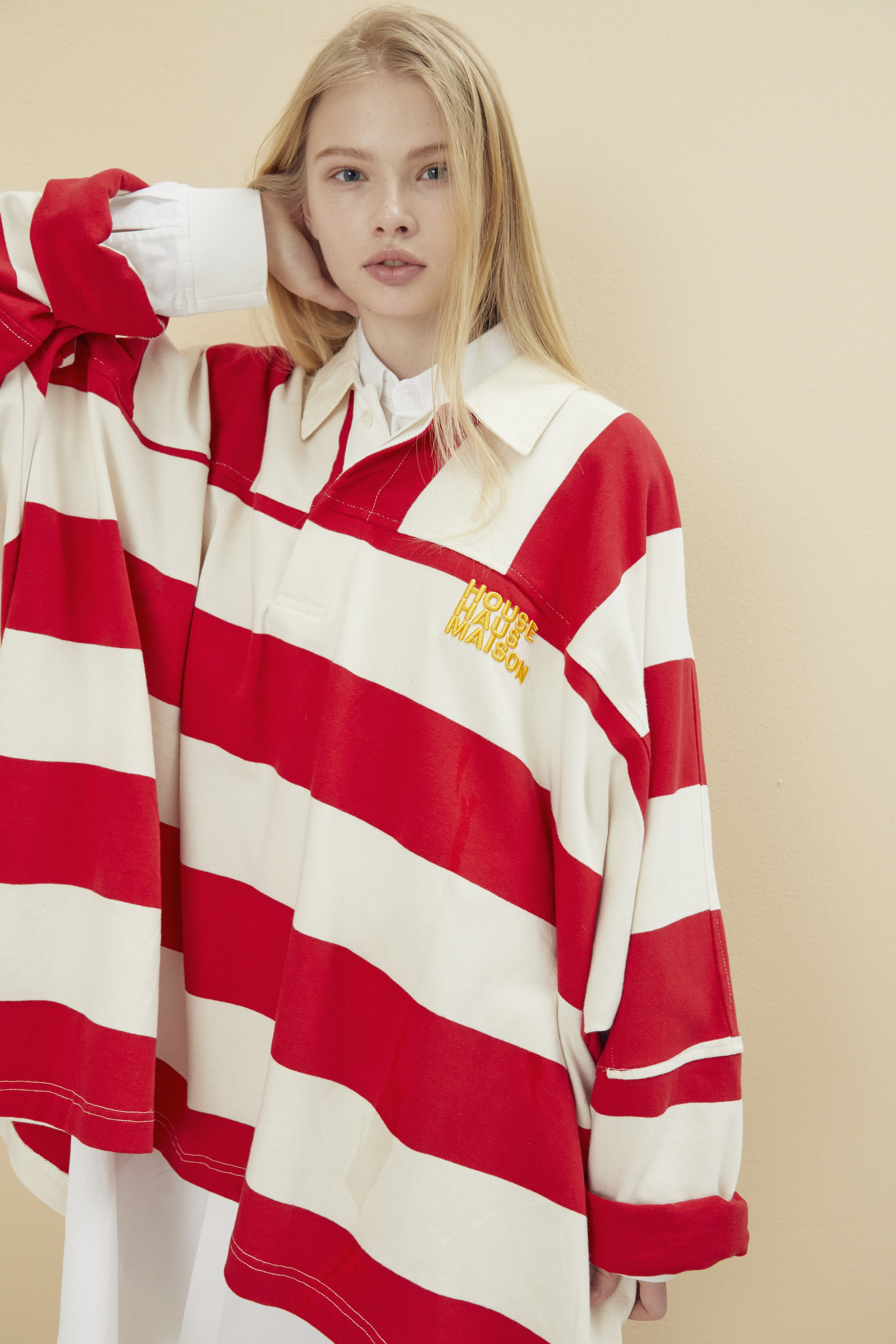 [예약배송] OVERSIZED RUGBY SHIRT RED